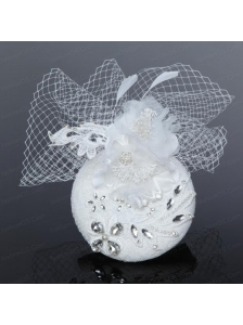Cute White Tulle and Lace Rhinestone 2014 Hat Hair Ornament