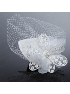 Fashionable Beading Tulle and Lace Hat Hair Ornament