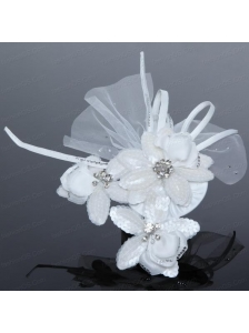 Tulle White Hair Flower with Rhinestone for Wedding
