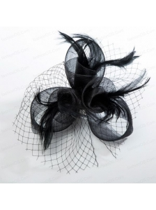 2014 Fashionable Tulle Black Net Yarn Briadl Hat