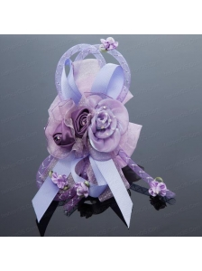 2014 Pretty Beading Tulle Lavender Hair Ornament