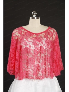 Coral Red Lace Hot Sale Wraps with Beading for 2014