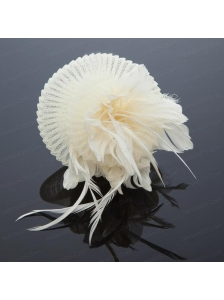 Cute Feather and Tulle Wedding White Hat Hairpin