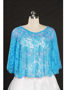 Fashionable Beading Lace Wraps in Aqua Blue