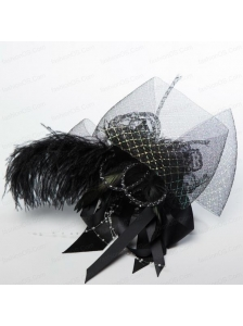 Gorgeous Feather Lace and Imitation Pearls Hair Ornament