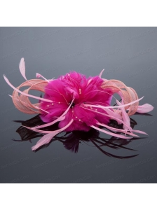 Pretty Pink Tulle Feather Flower Hairpin for Wedding