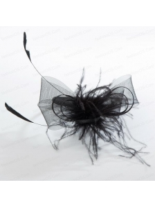 Simple Black Tulle Hairpins Birdcage Veils with Feather