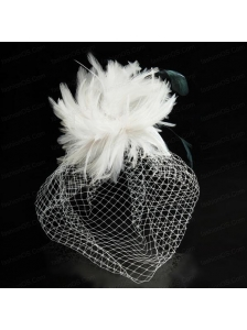 White Feather Elegant Net Yarn Briadl Hat with Imitation Pearls
