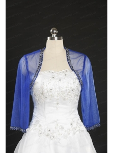 2014 Discount Royal Blue Long Sleeves Wraps with Beading