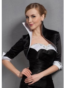 Black High Neck  Satin Popular Jacket with 3/4 Sleeves