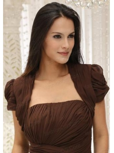 Brown Short Sleeves Quinceanera Jacket With Ruching