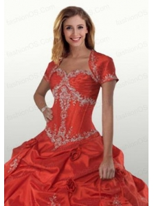 Exclusive Red Open Front Quinceanera Jacket With Appliques