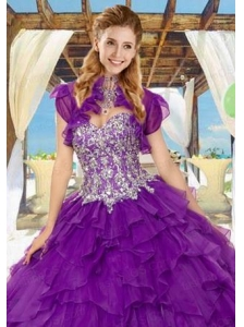 Fashionable Organza Quinceanera Jacket in Purple with Ruffles