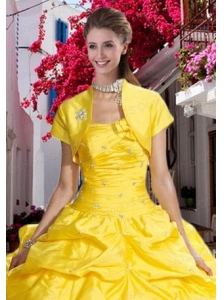 Yellow Taffeta Open Front Special Occasion Quinceanera Jacket with Beading