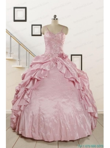 2015 Multi Color Hand Made FlowerQuinceanera Dress with One Shoulder