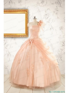 2015 Pretty One Shoulder Appliques Quinceanera Dress in Peach