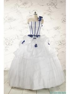 Elegant White One Shoulder Hand Made Flower Quinceanera Dress for 2015