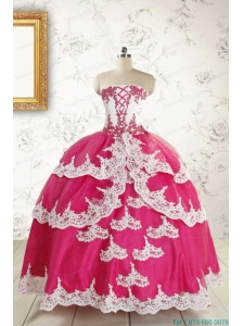 2015 Cheap Hot Pink Quinceanera Dresses with Appliques
