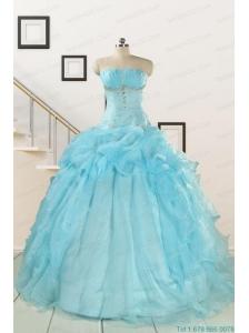 2015 Elegant Aqua Blue Quinceanera Dresses with Beading