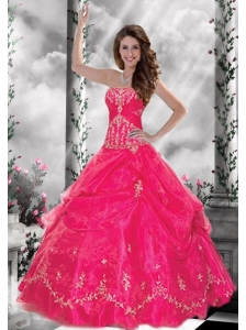 2015 Exquisite Strapless Hot Pink Quinceanera Gown with Appliques and  Beading