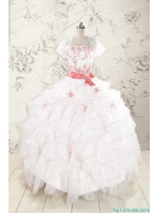 2015 Pretty Appliques and Ruffles Quinceanera Dresses with Strapless