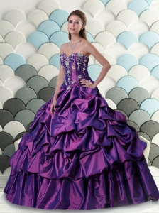 2015 Wonderful Sweetheart Pick Ups and Appliques Quinceanera Dresses in Purple