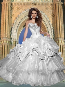 Beautiful Sweetheart Beaded and Ruffled Quinceanera Dresses in White