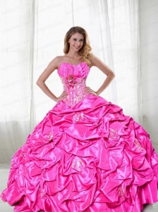 Best Seller Hot Pink Appliques and Pick Ups Quincenera Dress