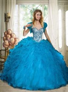 Blue Sweetheart Beaded Decoarte Ball Gown Quinceanera Dress with Ruffles