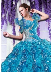 Brand new Organza Beading and Ruffles Quinceanera Jacket in Blue