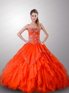 Customize A-Line Appliques and Ruffles Orange Red Quinceanera Dress