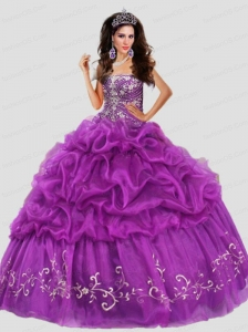 Discount Pick Ups and Embroidery Purple Quinceanera Dress with Beading