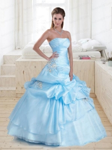 Elegant Baby Blue Strapless Quinceanera Dress with Appliques