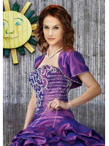 Elegant Purple Taffeta Quinceanera Jacket with Beading Open Front