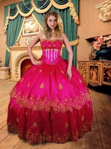 Exclusive Appliques and Beading Strapless Quinceanera Dress in Hot Pink