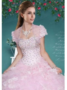Fashionable Baby Pink Organza Quinceanera Jacket with Beading and Ruffles