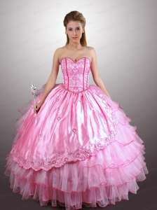Fashionable Rose Pink Quinceanera Dresses with Embroidery and Ruffles Layers
