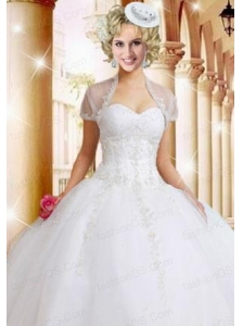 Fashionable White Organza Quinceanera Jacket with Appliques