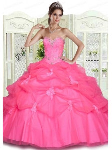 Hot Pink Beading and Appliques Quinceanera Dresses with Pick Ups