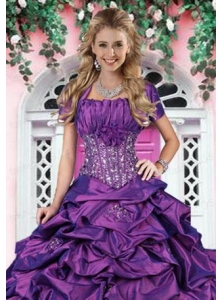 Luxurious Purple Taffeta Special Occasion Quinceanera Jacket