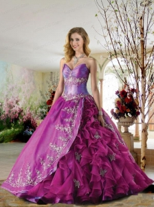 Luxurious Sweetheart Appliques and Ruffles Quinceanera Dress in Fuchsia