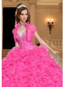 Most Popular Beading and Ruffles Hot Pink Quinceanera Jacket with Open Front