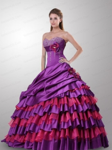 Multi-color Flowers and Ruffled Layers Sweetheart Quinceanera Dresses