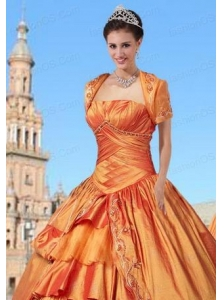New Style Taffeta Orange Quinceanera Jacket with Embroidery