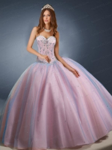 Newest Sweetheart Pink Quinceanera Dresses with Beading and Sequins