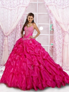 Remarkable Spaghetti Straps Hot Pink Beading and Appliques Quinceanera Dresses