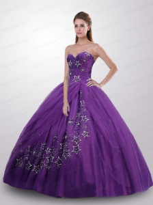 Simple Princess Sweetheart Appliqued Quinceanera Dresses in Purple