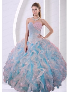 Sweetheart Beaded Decorate Long Quinceanera Dress with Special Fabric