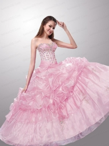 Wonderful Sweetheart Beading and Pick-ups Baby Pink Dresses for Quinceanera