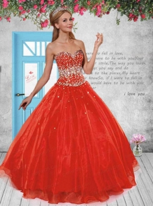2014 Discount Sweetheart Red Sweet Sixteen Dresses with Beading